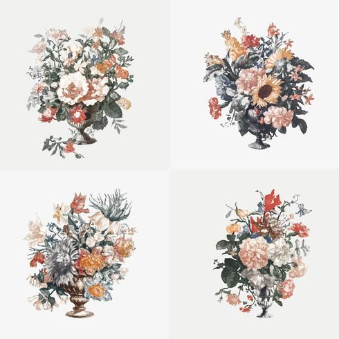 Illustration vintage de l'ensemble de vases à fleurs