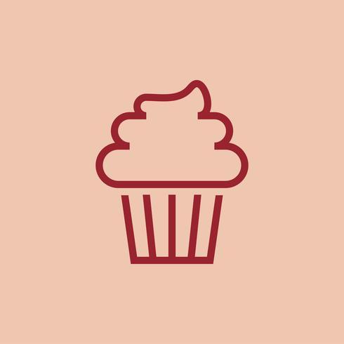 Cupcake com vetor de ícone de geada