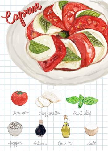 Hand gezeichnete caprese Salat-Aquarellart