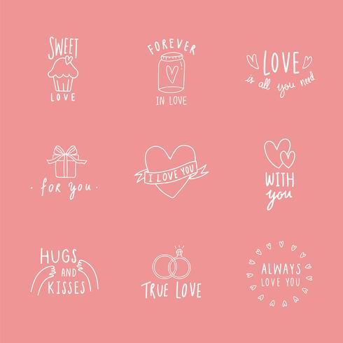 Símbolos de amor icon set vector