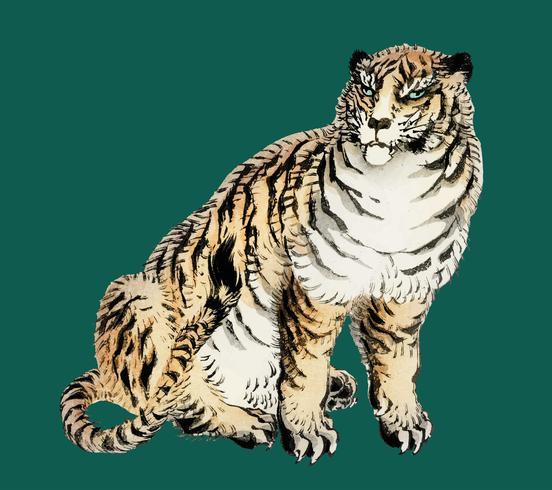 Tigre de K? No Bairei (1844-1895). Amélioré numériquement de notre propre édition originale de 1913 de Bairei Gakan.