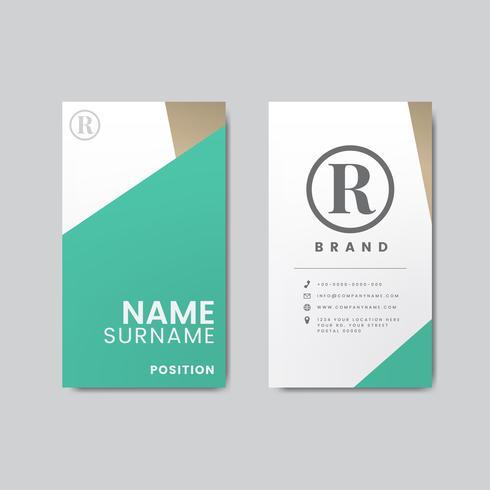 Diseño moderno mínimo de la tarjeta de visita que ofrece elementos geométricos