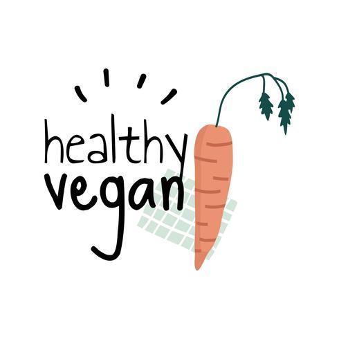 Vegan sain avec un vecteur de logo de carotte
