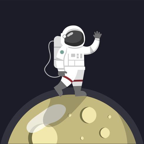 Astronauta sul vettore della luna