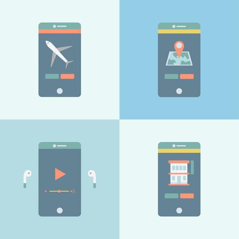 Set di diverse applicazioni grafiche sul cellulare