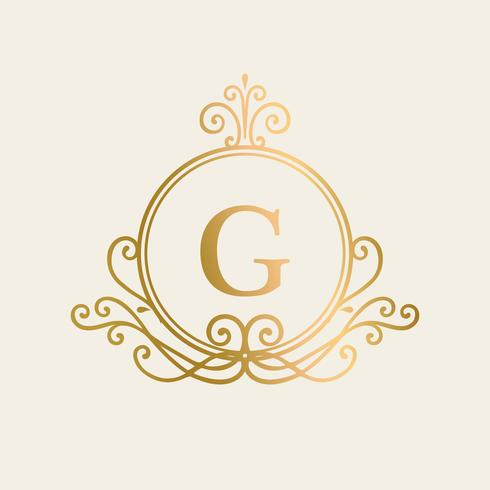Fondo de marco de oro inicializado
