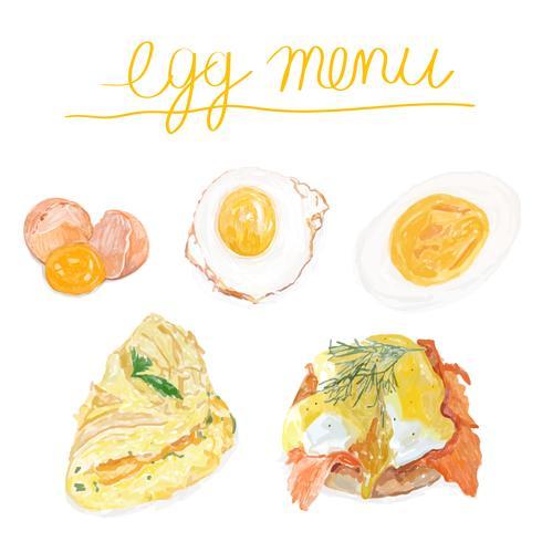 Handgezeichnete Ei Menü Aquarell Stil