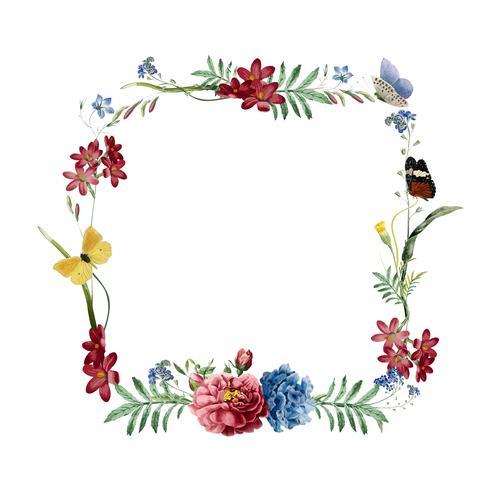 Disegno di carta cornice floreale invito