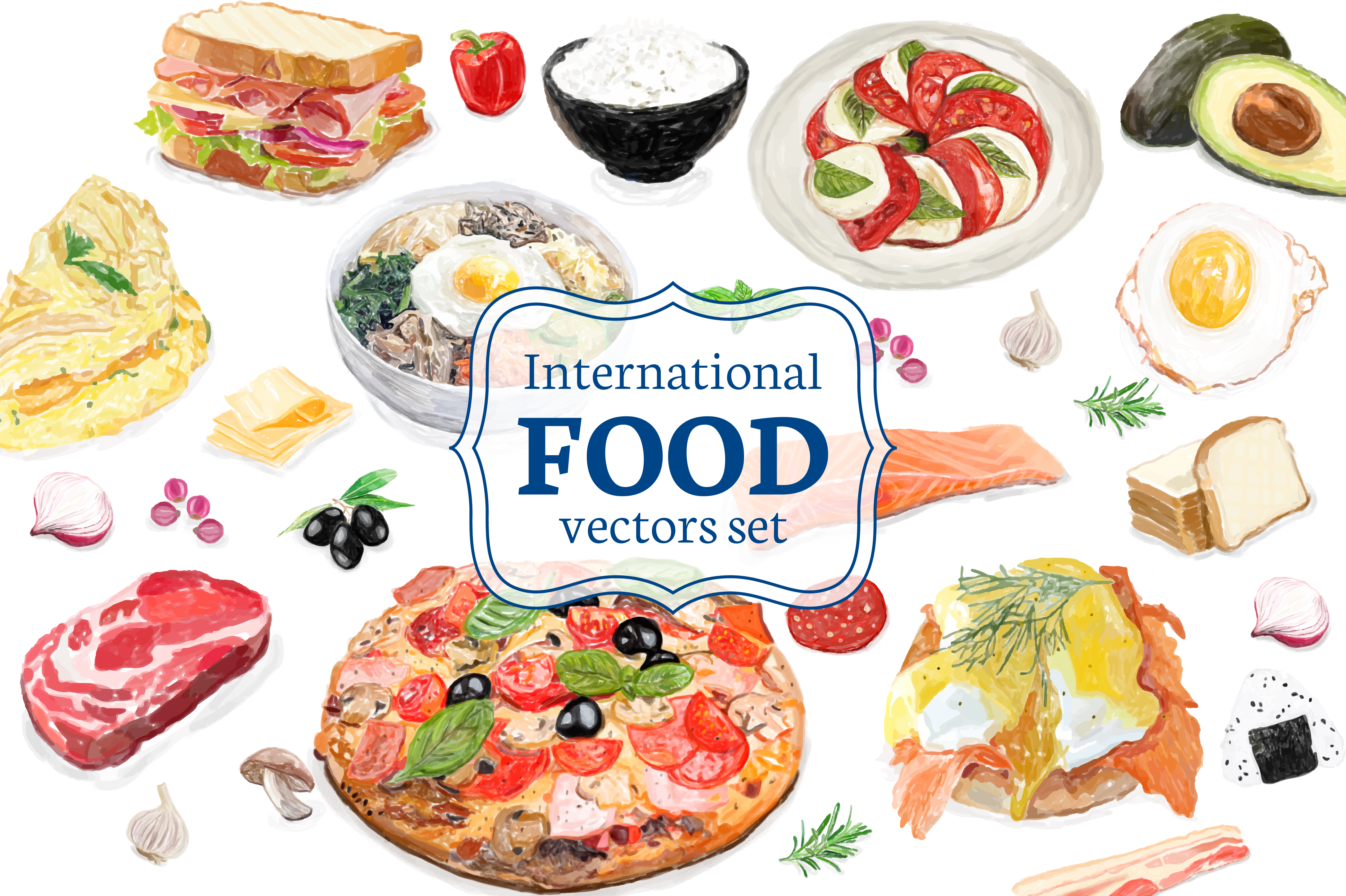 Hand drawn international food watercolor style - Download ...