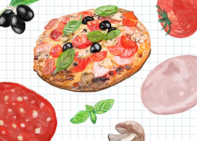 Hand drawn italian pizza watercolor style