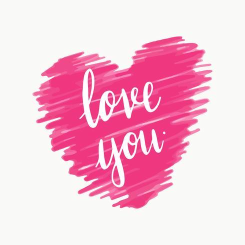T'aime vecteur de typographie en rose