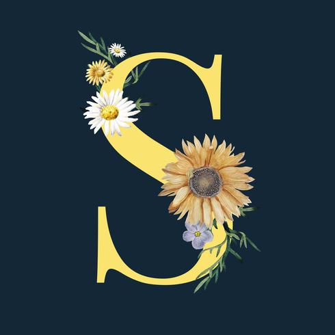 Letter S with blossoms