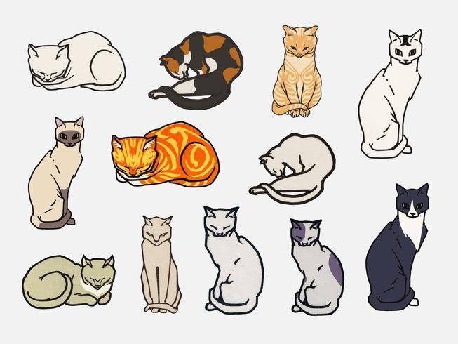 Ensemble de chats. Éléments du domaine public, modifiés par rawpixel.