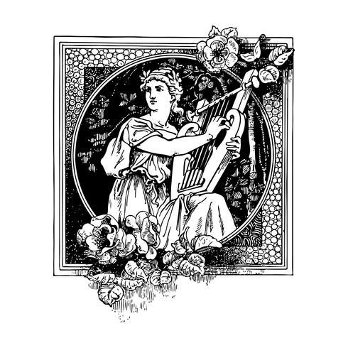 Griego antiguo tocando arpa