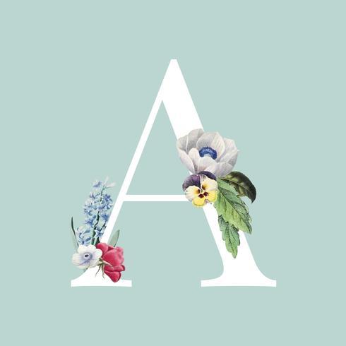 Tipografía de letra A de estilo floral