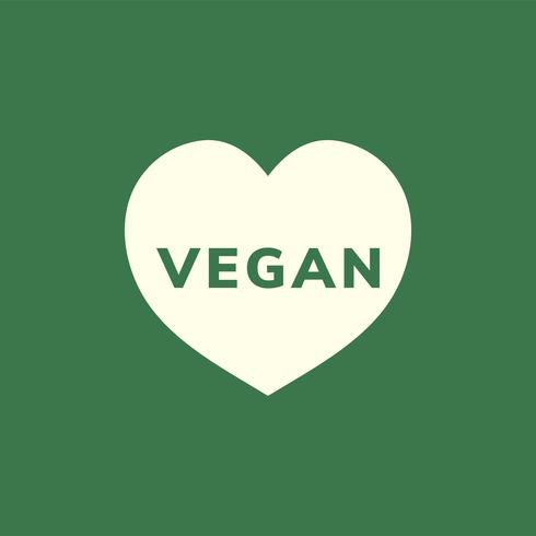 The word vegan in a heart shape vector