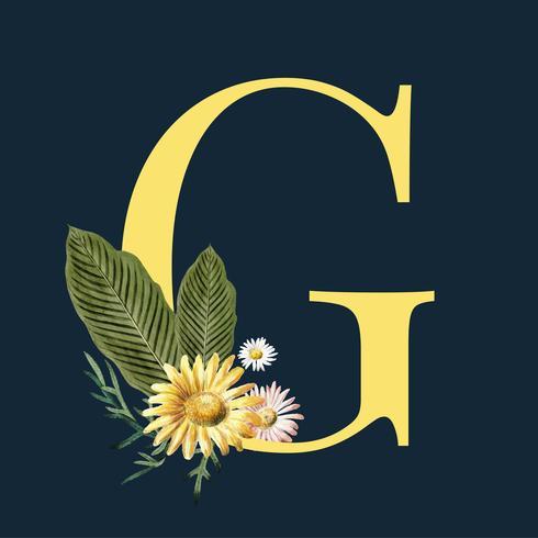 Buchstabe G mit Blüten