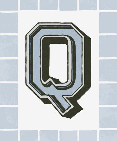 Hoofdletter Q vintage typografie stijl