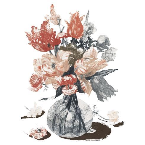 Weinleseillustration von Blumen in einem Vase