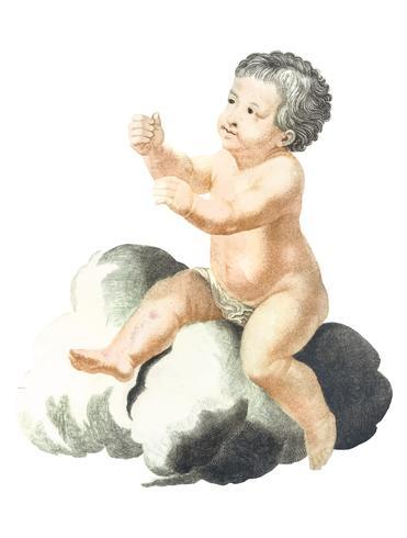 Illustration vintage d'un enfant nu