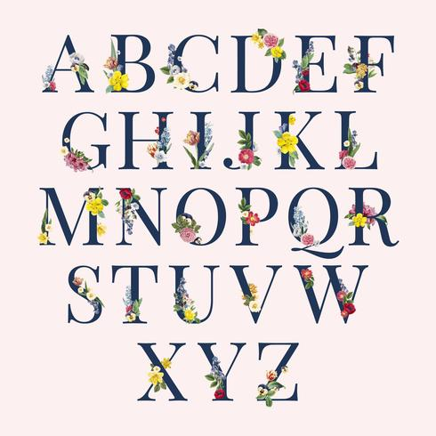 Alphabet Blumenhintergrundillustration