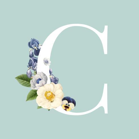 Blomstilad bokstav C typografi