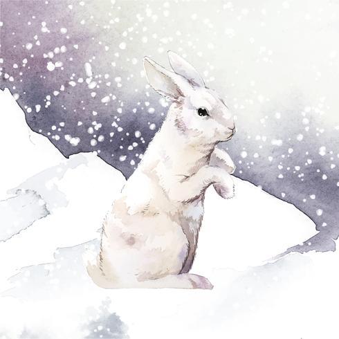 Wild wit konijn in een de wintersprookjesland dat door waterverfvector wordt geschilderd
