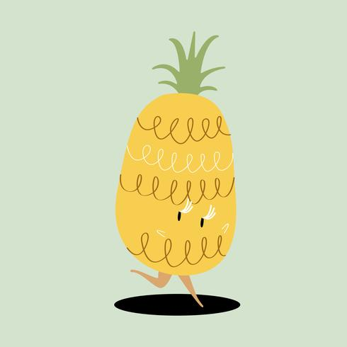 Verse ananas cartoon karakter vector