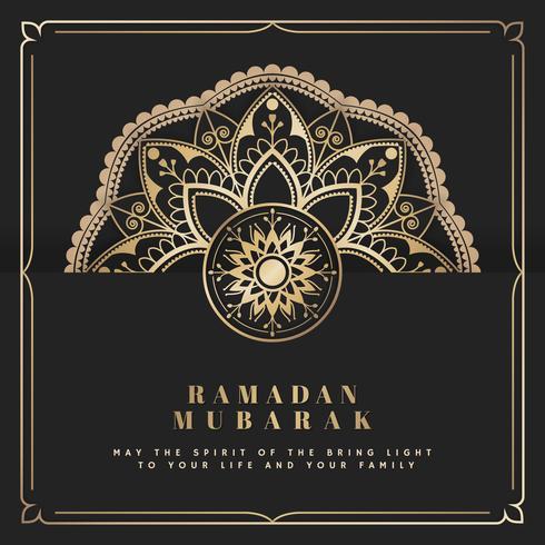 Svart och guld Eid Mubarak vykort vektor