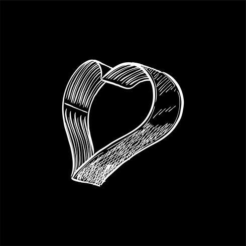 Illustration vintage d'un emporte-pièce en forme de coeur