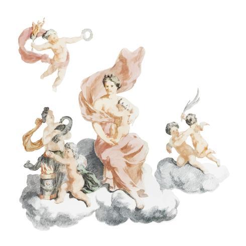 Weinleseillustration von Herkules und von Juno