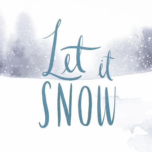 Let it snow vector typographie aquarelle