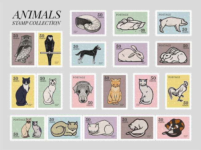 Set med frimärken med olika djur. Element från det offentliga området, modifierat av rawpixel.