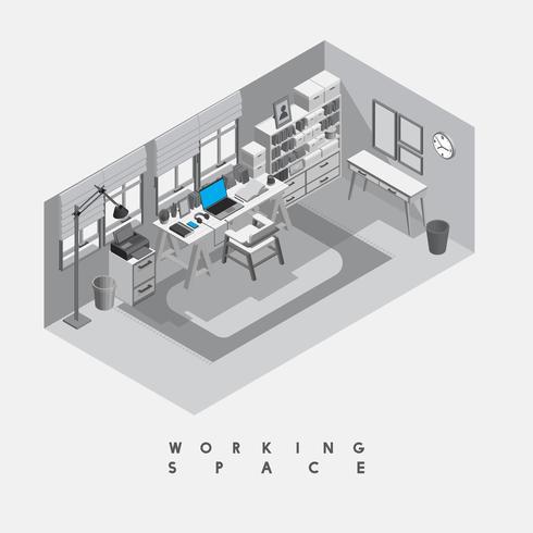 Zeitgenössischer Arbeitsraum getrennt auf Hintergrund