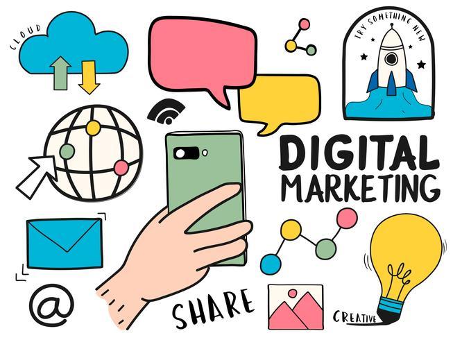 Ensemble dessiné à la main de l'illustration de symboles marketing numérique