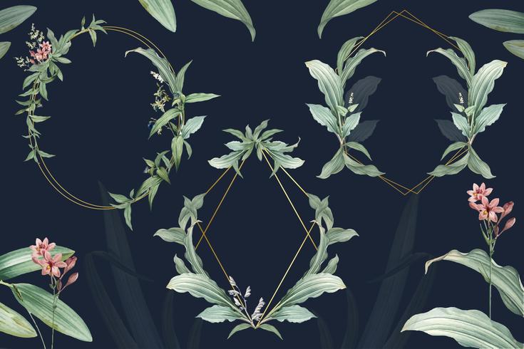Set med tomma blommiga bröllopsramar vektor