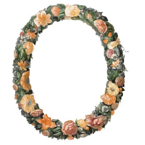 Illustrazione d'epoca di una corona floreale