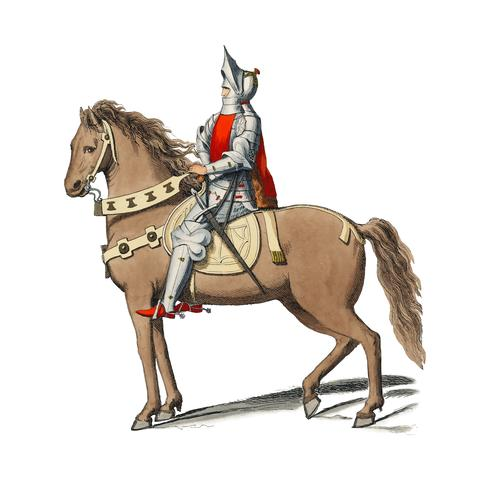 Kostym Militär Florentin, av Paul Mercuri (1860) ett porträtt av en riddare på hästrygg med full rustning. Digitalt förbättrad av rawpixel.