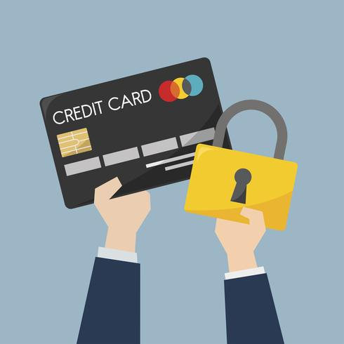 Businessman with credit card and protection