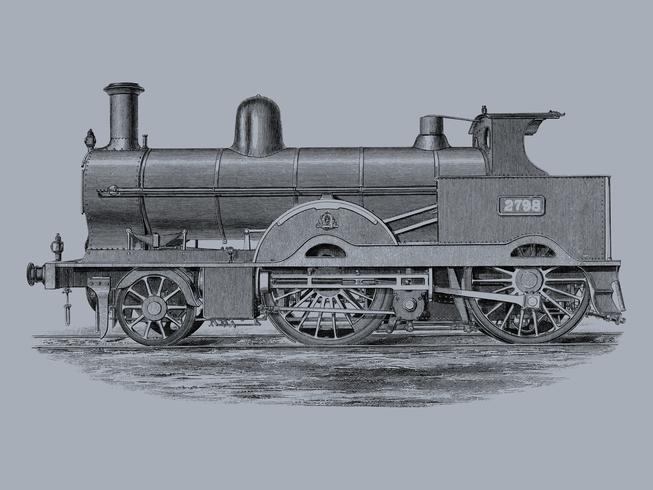Lokomotiv (1891) av Francis William Webb (1836-1906), en vackert detaljerad design av ett motortåg och dess fack. Digitalt förbättrad av rawpixel.