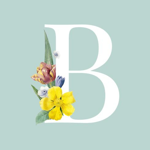 ecc05602d51d Floral styled letter B typography - Download Free Vector Art