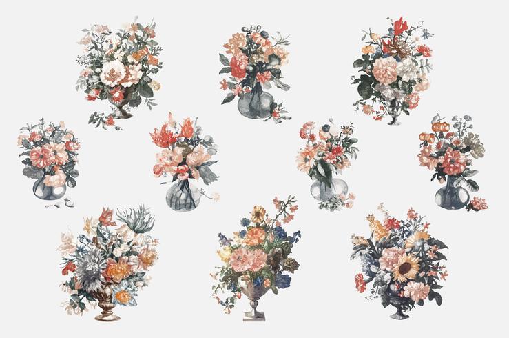 Ilustración vintage de conjunto de jarrones con flores