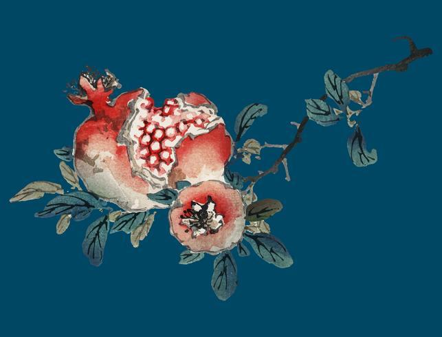 Granatapfel von K? No Bairei (1844-1895). Digital verbessert aus unserer eigenen Originalausgabe von Bairei Gakan von 1913