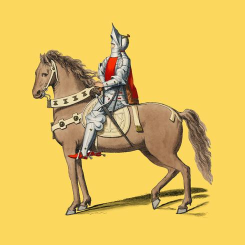 Costume Militaire Florentin, di Paul Mercuri (1860) un ritratto di un cavaliere a cavallo con armatura completa. Miglioramento digitale di rawpixel.