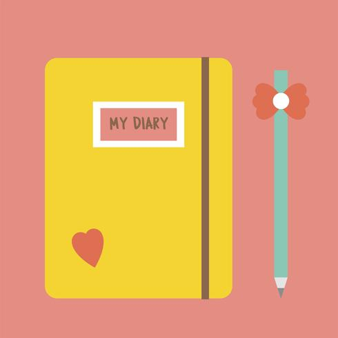 Illustration simple d'un journal intime pour filles