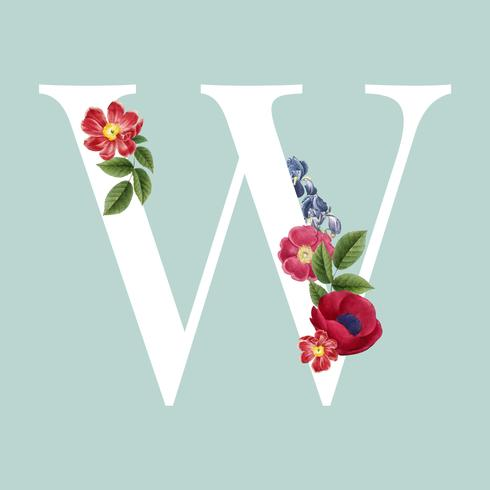 Floral styled letter W typography