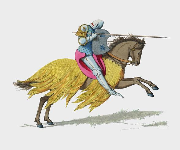 Chevalier Francais, XIVe Siecle, di Paul Mercuri (1860), un cavaliere a cavallo con armatura completa pronta per la giostra. Miglioramento digitale di rawpixel.