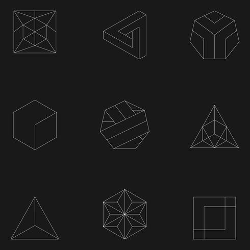 Ilustración lineal de formas geométricas.
