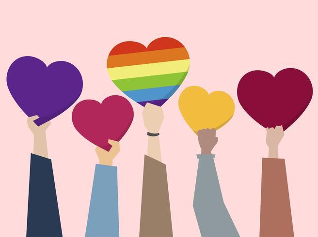 Personas sosteniendo corazones ilustración