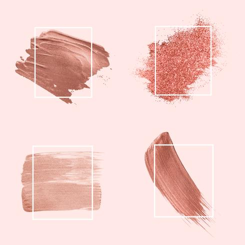 Collection of pink brush strokes